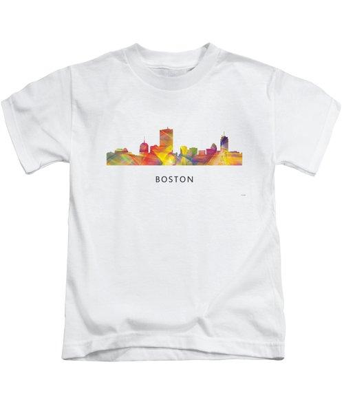 Boston Massachusetts Skyline Kids T-Shirt by Marlene Watson