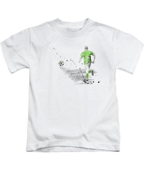 Football Player Kids T-Shirt by Marlene Watson
