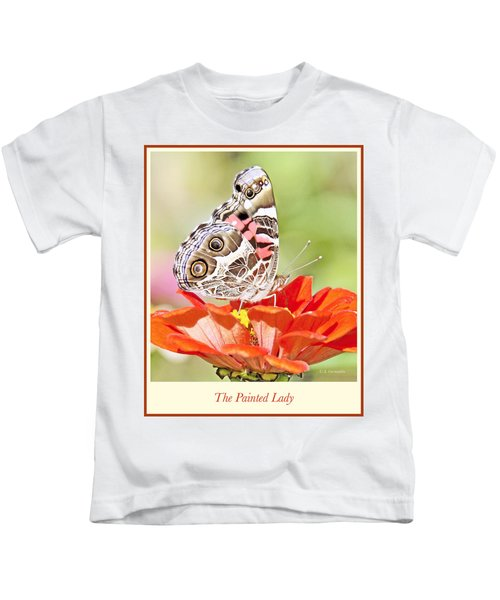 Painted Lady Butterfly On Zinnia Flower Kids T-Shirt