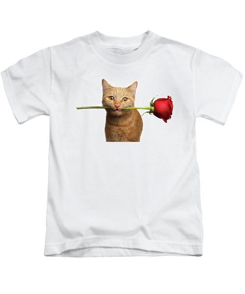 Portrait Of Ginger Cat Brought Rose As A Gift Kids T-Shirt