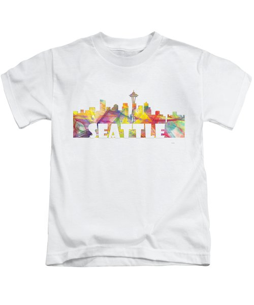 Seattle Washington Skyline Kids T-Shirt by Marlene Watson
