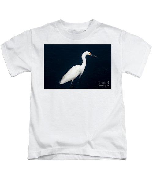 Snowy White Egret Kids T-Shirt
