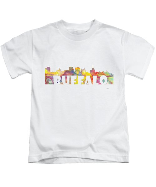 Buffalo New York Skyline Kids T-Shirt by Marlene Watson