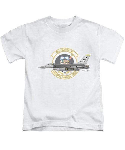 Lockheed Martin F-16c Viper Kids T-Shirt by Arthur Eggers
