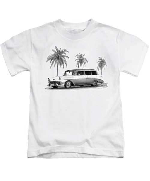 56 Chevy Wagon Kids T-Shirt