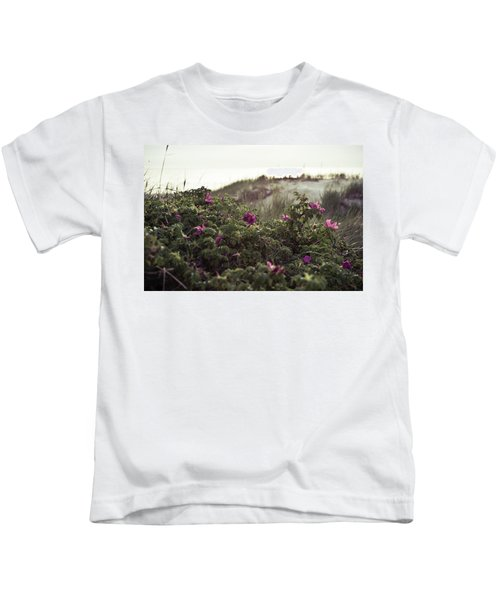Rose Bush And Dunes Kids T-Shirt