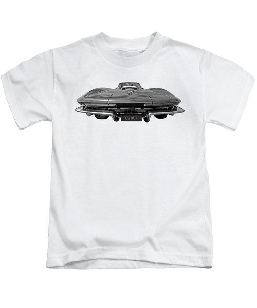 66 Vette Stingray In Black And White Kids T-Shirt