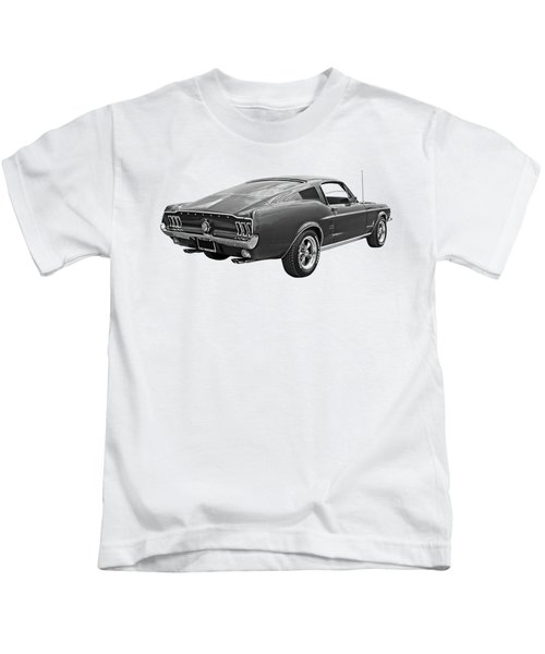 67 Fastback Mustang In Black And White Kids T-Shirt