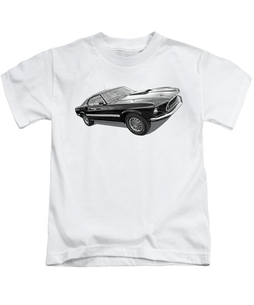 69 Mach1 In Black And White Kids T-Shirt