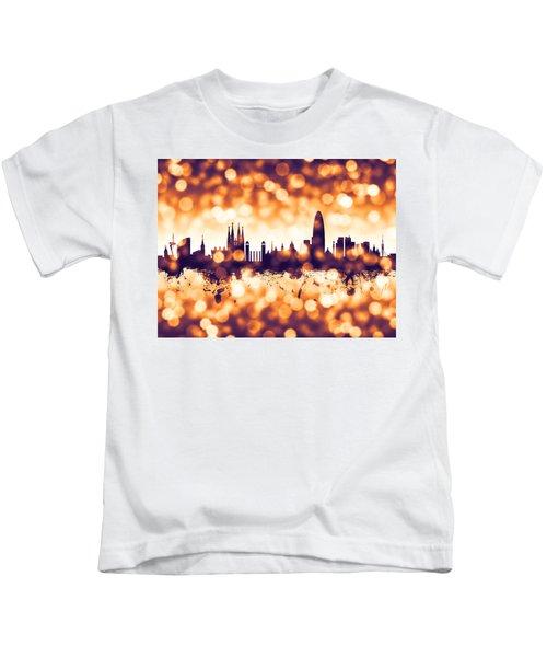 Barcelona Spain Skyline Kids T-Shirt