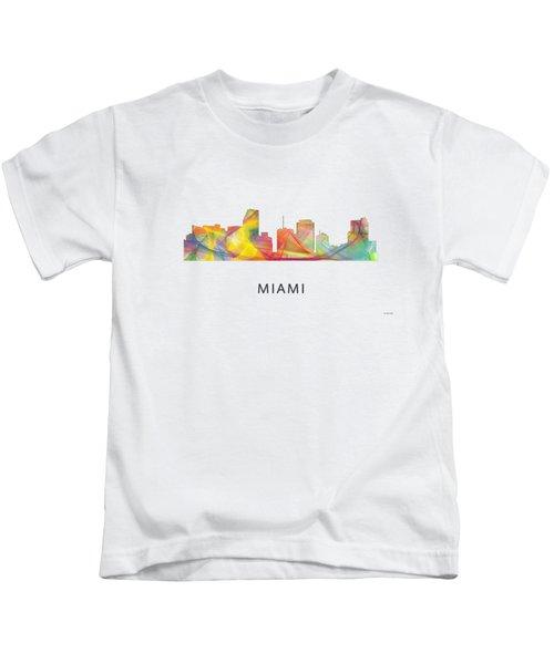 Miami Florida Skyline Kids T-Shirt by Marlene Watson