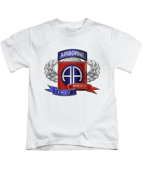 82nd Airborne Division 100th Anniversary Insignia Over White Leather Kids T-Shirt