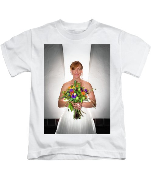 A Beautiful Backlit Bride And Her Bouquet Kids T-Shirt