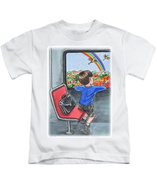 A Boy On The Bus Kids T-Shirt