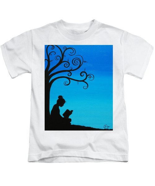 A Girl And Her Book Kids T-Shirt