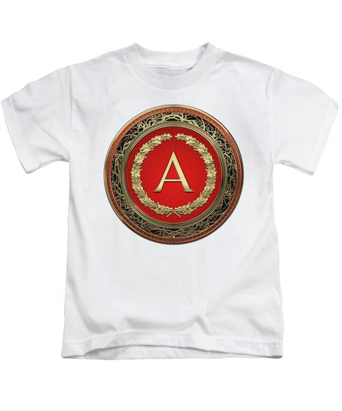 A - Gold On Red Vintage Monogram In Oak Wreath Over White Leather Kids T-Shirt