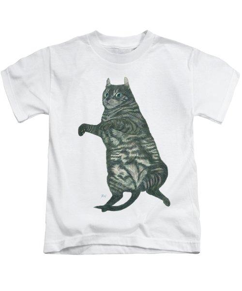 A Lazy Black Cat Lying On Floor Kids T-Shirt