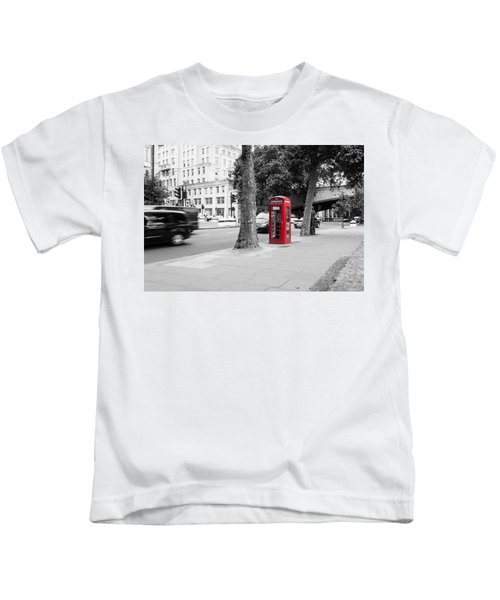 A Single Red Telephone Box On The Street Bw Kids T-Shirt