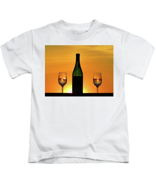 A Sunset In Each Glass Kids T-Shirt