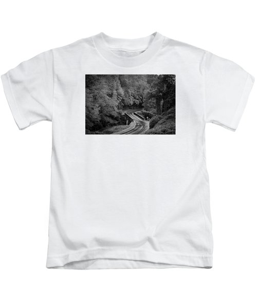 A Wet And Twisty Road Through The Blue Ridge Mountains In Black And White Kids T-Shirt