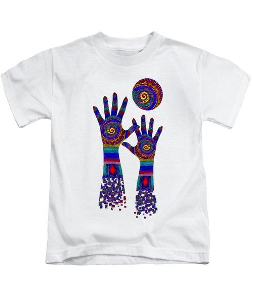 Aboriginal Hands Blue Transparent Background Kids T-Shirt