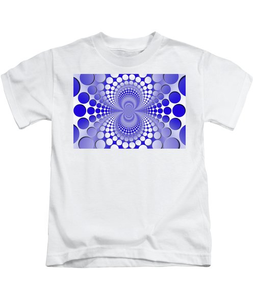 Abstract Blue And White Pattern Kids T-Shirt