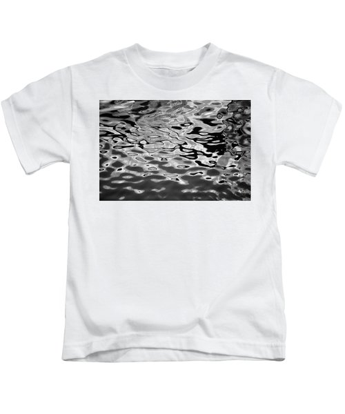 Abstract Dock Reflections I Bw Kids T-Shirt