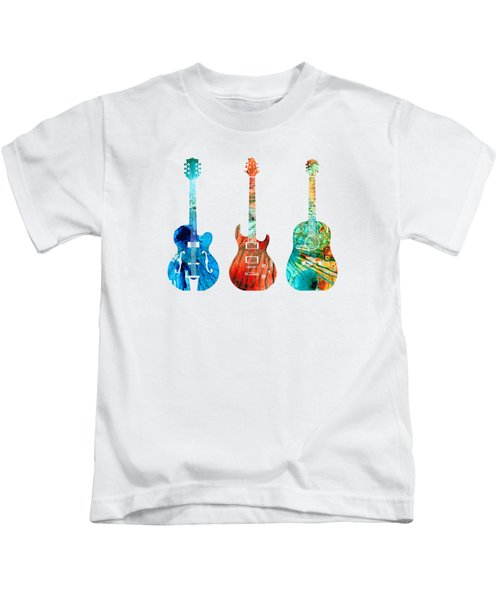 Abstract Guitars By Sharon Cummings Kids T-Shirt