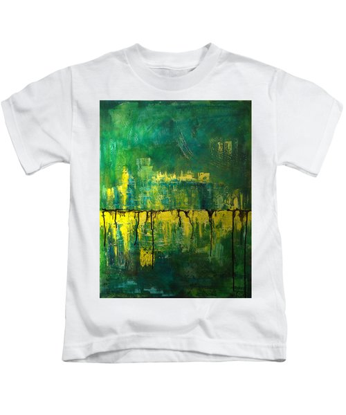 Abstract In Yellow And Green Kids T-Shirt