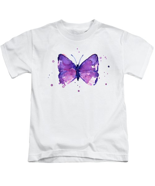 Abstract Purple Butterfly Watercolor Kids T-Shirt