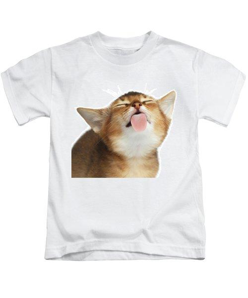 Abyssinian Kitten Licking Screen  Kids T-Shirt