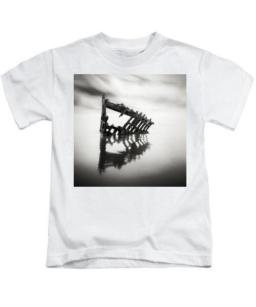 Adrift At Sea Monochromatic Square Kids T-Shirt