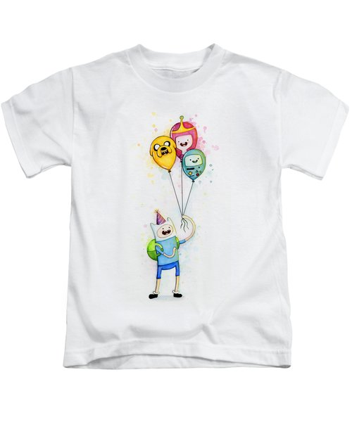 Adventure Time Finn With Birthday Balloons Jake Princess Bubblegum Bmo Kids T-Shirt