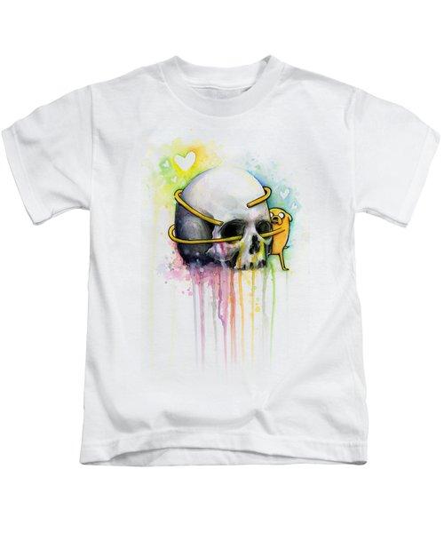 Adventure Time Jake Hugging Skull Watercolor Art Kids T-Shirt