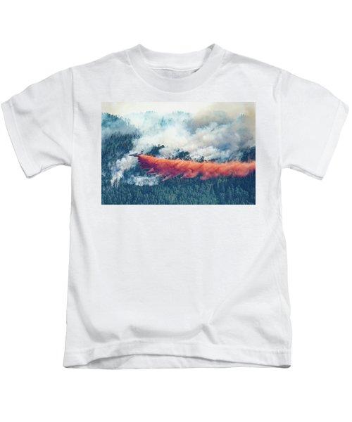 Air Tanker On Crow Peak Fire Kids T-Shirt