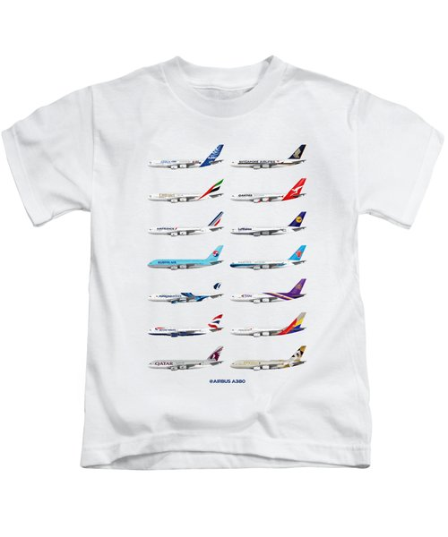Airbus A380 Operators Illustration Kids T-Shirt