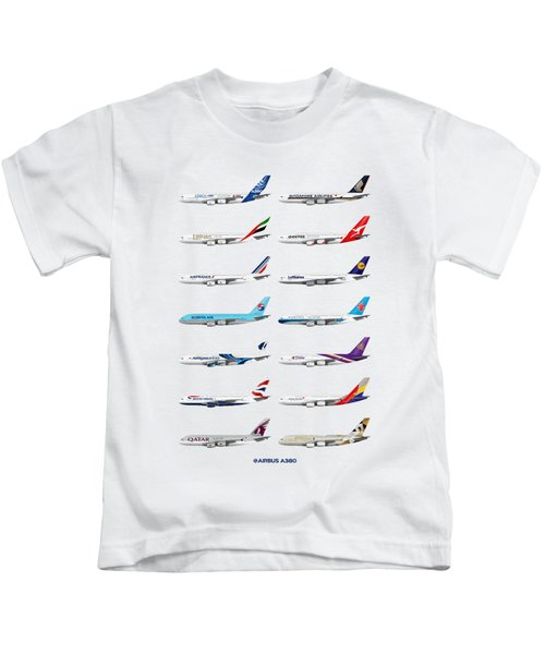 Airbus A380 Operators Illustration Kids T-Shirt