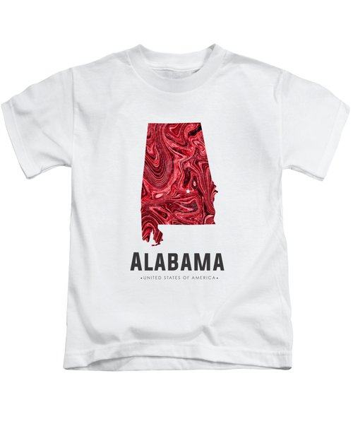 Alabama Map Art Abstract In Red Kids T-Shirt