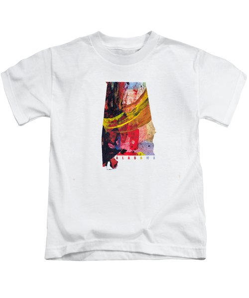 Alabama Map Art -painted Map Of Alabama Kids T-Shirt