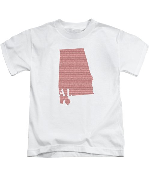 Alabama State Map With Text Of Constitution Kids T-Shirt