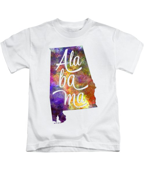 Alabama Us State In Watercolor Text Cut Out Kids T-Shirt