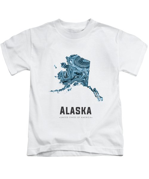 Alaska Map Art Abstract In Blue Kids T-Shirt