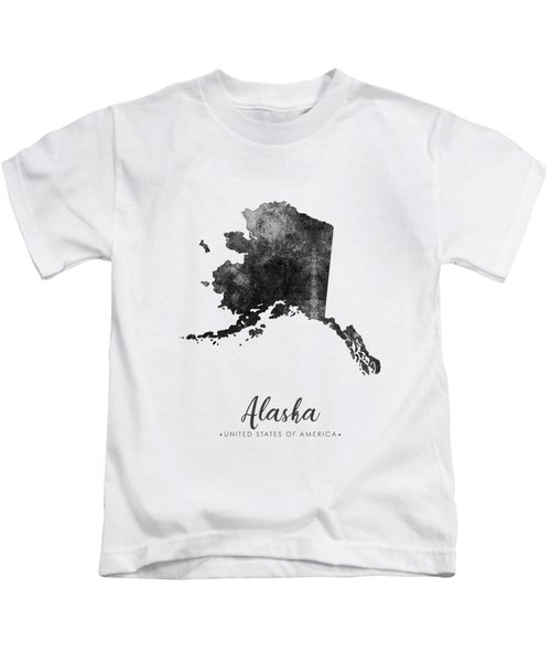 Alaska State Map Art - Grunge Silhouette Kids T-Shirt