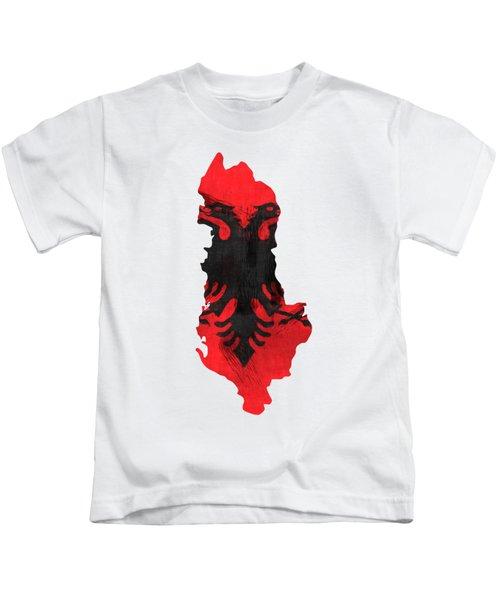 Albania Map Art With Flag Design Kids T-Shirt