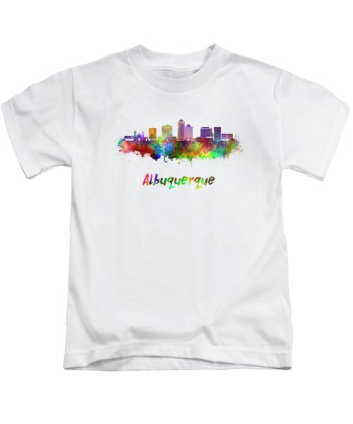 Albuquerque Skyline In Watercolor Splatters With Clipping Path Kids T-Shirt