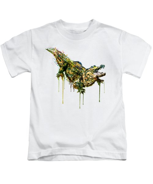 Alligator Watercolor Painting Kids T-Shirt by Marian Voicu