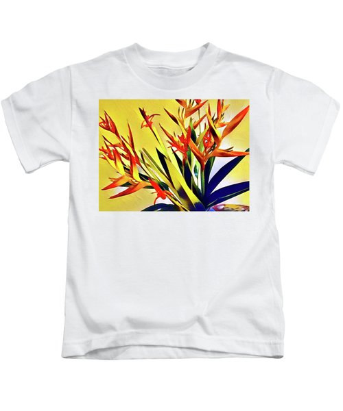 Aloha Bouquet Of The Day - Halyconia Birds In Orange Kids T-Shirt