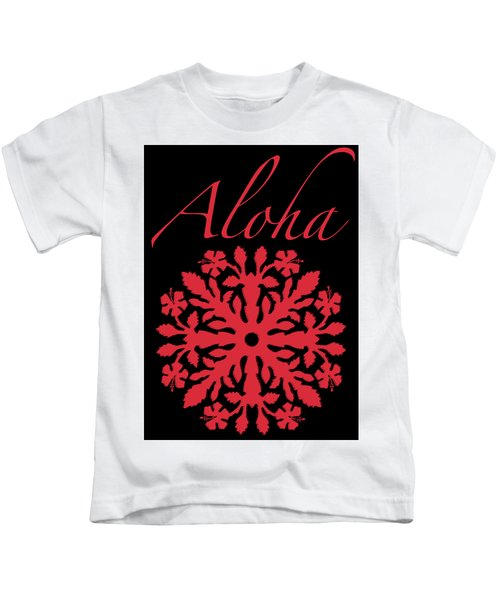 Aloha Red Hibiscus Quilt T-shirt Kids T-Shirt by James Temple