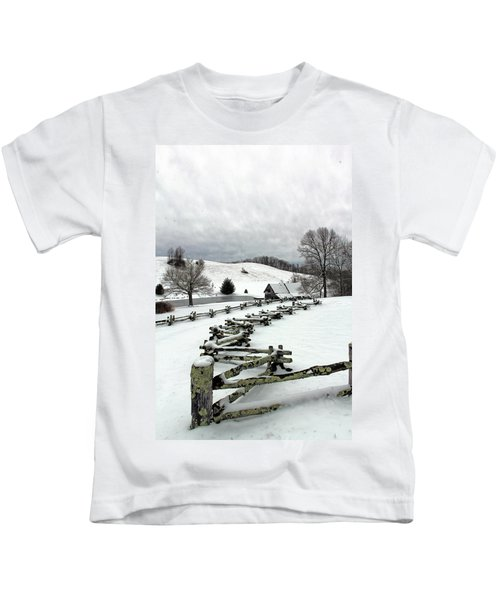 Along The Locust Rails In Winter Kids T-Shirt