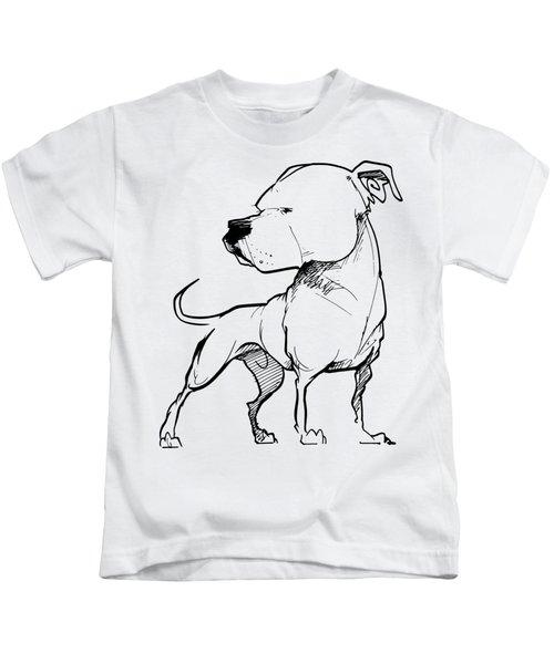 American Bulldog Gesture Sketch Kids T-Shirt